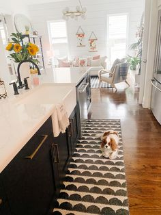 Black and white kitchen with Peerless kitchen faucet. Diy Kitchens, Welcome Home, White Cabinets, Home Remodeling, Faucet, Kitchen Remodel, Diy Projects, Kids Rugs, Black And White
