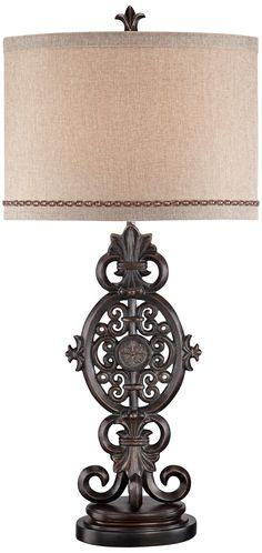 Antique Medallion Cast Iron Table Lamp | LampsPlus.com
