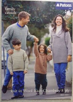Patons knitting LEAFLET no. L 417 FAMILY JUMPERS  8 PLY CHAMBRAY WOOL  http://stores.ebay.com.au/helenafashions