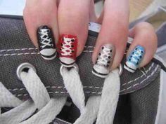 Converse-inspired nail art.