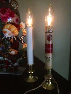 Change up an old standard. I used some wrapping paper to cover this Dollar Store battery operated candle stick.