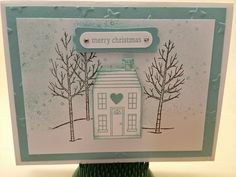 The Stamp Therapists: Another Demonstrator Gathering Card.  Stampin' Up!'s Holiday Home stamp set; Homemade Holiday Framelits; White Christmas stamp set; Lucky Stars embossing folder