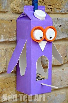 Owl bird feeder from juice or milk cartons