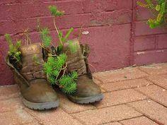 Guerilla Gardening: Growing Vegetables in Downtown Kansas City Green Garden, Lawn And Garden, Garden Gate, Growing Vegetables, Growing Plants, Bloom Where Youre Planted, Garden Whimsy, Old Boots, Guerrilla