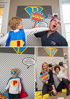 LOVE this Super hero photo booth idea. Fake barbell, blocks and fun signs
