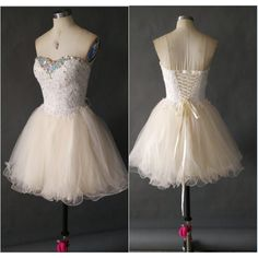 Short Homecoming Dress Sweetheart Neckline Lace Appliques Tulle Skirt... ($148) ❤ liked on Polyvore
