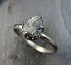Raw Rough UnCut Diamond Engagement Ring Rough Diamond Solitaire 14k white gold…