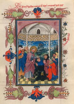 St. Peter Bestowing the Holy Spirit | Hours of Catherine of Cleves | Illuminated Manuscript | ca. 1440 | The Morgan Library & Museum
