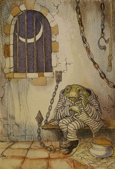 """The Wind in the Willows: Toad in jail. Illustration by Arthur Rackham Bears a strong resemblance to Beatrix Potter's """"Jeremy Fisher!"""""""