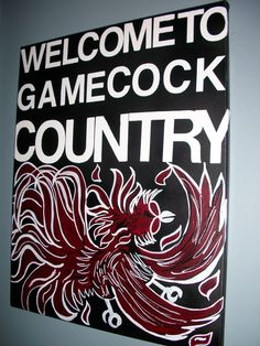 16x20 Subway Style Gamecock Painting. Welcome To Gamecock Country. Subway Style Letters and Hand Painted Gamecock. Perfect for Gamecock Fans. $65.00, via Etsy.