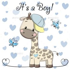 Buy Baby Shower Greeting Card with Giraffe Boy by on GraphicRiver. Baby Shower Greeting Card with cute Cartoon Giraffe boy Baby Shower Greetings, Baby Shower Greeting Cards, Cartoon Giraffe, Cute Cartoon, Dibujos Baby Shower, Baby Boy Cards, Baby Shower Giraffe, Baby Illustration, Baby Boy Announcement