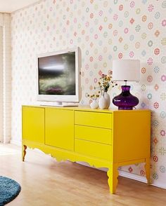 yellow tv table