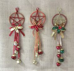 """Yule craft decorations. These are easy to make! The Dollar Tree sells these little door hanger bells - all you have to do is embellish with a sprig of holly or mistletoe (fake preferably) and use pipe stemming to make the star or even 1/4"""" ribbon. Tie it off at the top so you can hang it!"""