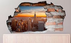 3D Muursticker New York in de avondzon | Muurmode.nl