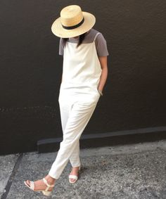 Straw Hat Outfit Inspiration and Products for Summer 2016 | artsy overalls and @janessaleone hat on @heleny