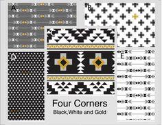 Crib Bedding- Design Your Own Crib Set- Four Corners- Black, White, and Gold