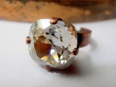 Handmade Antique Copper Silver Shade Adjustable Ring made with Authentic Swarovski Crystals. Cushion Ring, Cushion Cut, Antique Copper, Antique Jewelry, Swarovski Crystal Rings, Copper Rings, Stones And Crystals, Band Rings, Adjustable Ring