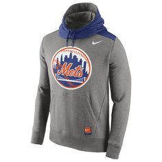 New York Mets Nike Cooperstown Collection Hybrid Pullover Hoodie - Gray
