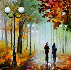 FOGGY DAY - PALETTE KNIFE Oil Painting On Canvas By Leonid Afremov Absolutely beautiful!