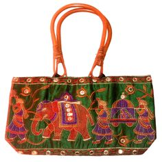 INDIAN HANDMADE ETHNIC HAND EMBROIDERED MIRROR BAMBOO HANDLE PURSE WOMAN BAG #Handmade #EveningBag