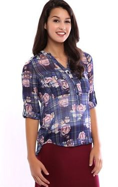 Deb Shops Floral Plaid Print Chiffon Button Down Top with Rolled Sleeves $16.50