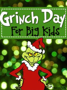 Day 2 of Christmas break and I am loving it! I hope that you are having an awesome break too. I figured that since it was almost Christmas . Grinch Christmas Decorations, Grinch Christmas Party, Grinch Party, Christmas Party Themes, Magical Christmas, Christmas Holidays, Holiday Ideas, Holiday Decor, Holiday Party Games
