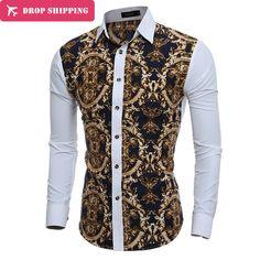 DropShipping Camisa masculina 2017 Men's Fashion slim Fit casual shirt Men's long  sleeve  Shirts Printing men Shirt, ASIAN SIZE