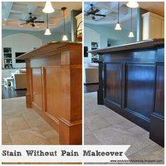 How To Apply Gel Stain To Cabinetry - easy and inexpensive project that completely transforms a kitchen for very little $.