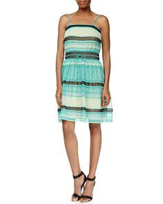 Ribbon-Stitched A-Line Tank Dress, Aqua (Blue), Size: 42 - M Missoni