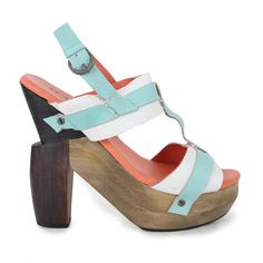 Vila Womens Abstract Wooden Heel Multi Sandals ($59) ❤ liked on Polyvore