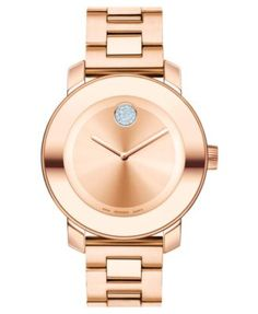 Movado Women's Swiss Bold Rose Gold Ion-Plated Stainless Steel Bracelet Watch 38mm 3600086 | macys.com