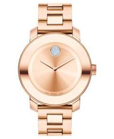 Movado Women's Swiss Bold Rose Gold Ion-Plated Stainless Steel Bracelet Watch 38mm 3600086 | macys.com