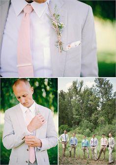 grey suit pink tie groom look #groom #boutonniere #weddingchicks http://www.weddingchicks.com/2014/02/03/dream-moments-wedding/