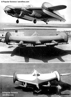 """Horton 02 (1951)  Two 225hp Jacobs and extended driveshafts; span: 40'0"""". Not truly wingless, but essentially a highly-modified Cessna UC-78 with a more airfoil-shaped fuselage than wing. POP: 1 [N39C]. Although this innovative protoype flew successfully, no backers were attracted, and the project was abandoned, with the plane eventually being deliberately burned."""