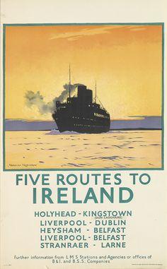 NORMAN WILKINSON (1882-1971) FIVE ROUTES TO IRELAND. Circa 1925.