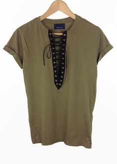 olive green lace up t-shirt