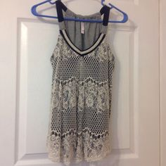 Navy blue lace front tank Cute navy blue tank with lace covering front.  EUC Xhilaration Tops Tank Tops