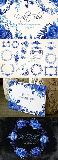 Delft Blue 18 compositions clip arts. Watercolor Flowers. $15.00
