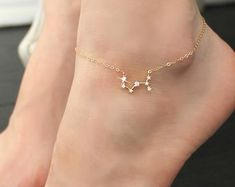 Constellation ANKLET Cubic zirconia diamonds 14k gold