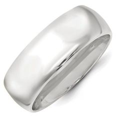 10k White Gold 8mm Standard Comfort Fit Band Ring - Ring Size: 4 to 14, Men's, Size: 10