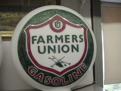 Etched One Piece Farmers Union Gas Pump Globe Sign