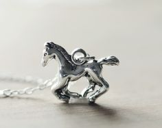 Running horse sterling silver necklace | Country western pendant | Wild west charm necklace | Cowgirl pendant | Gift for horse lovers by silvenoak on Etsy