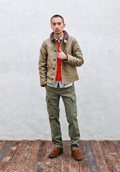 More olive drab pants and USN deck jackets. Could this be the generic male look that's going to be all over the street style blogs?