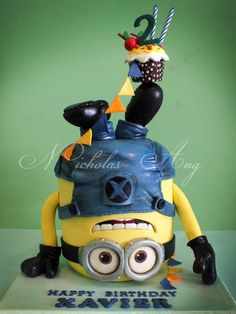 Headstand Minion Cake