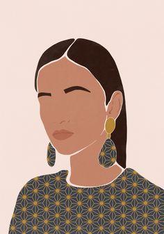 Portrait I:Woman& face/Minimalist style/Woman illustration/Home decor Art Print by Face Illustration, Portrait Illustration, Arte Fashion, Girl Fashion, Aesthetic Art, Couple Aesthetic, Minimalist Art, Female Art, Female Faces