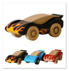 Lovely handcrafted wooden toy racing car, natural, organic wooden toys for kids. $32.00, via Etsy.