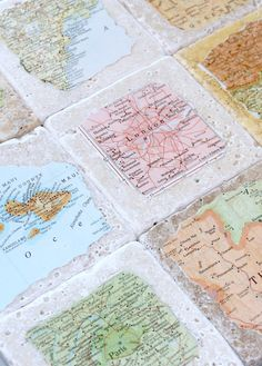 Personalized Natural Stone Vintage Map Coasters. You Choose 4 Cities