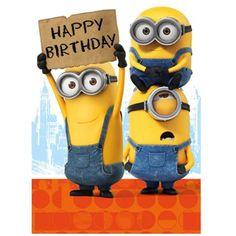 Happy Birthday Sign Minions Card