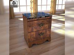 3D Model Ashley Buckingham Nightstand c4d, obj, 3ds, fbx