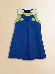 vestidito azul borde verde y flores